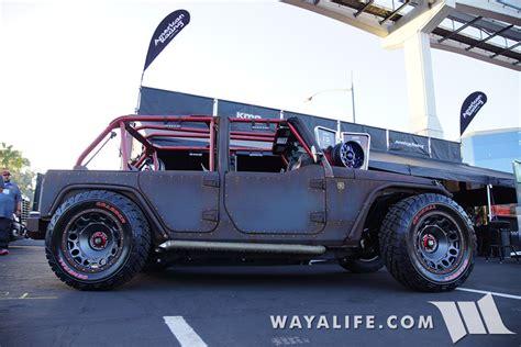 lowered jeep wrangler unlimited 2015 sema starwood motors ruf nek jeep jk wrangler unlimited