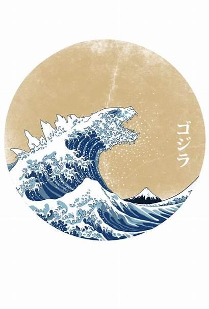 Shirts Shirt Cool Graphic Godzilla Tee Hokusai