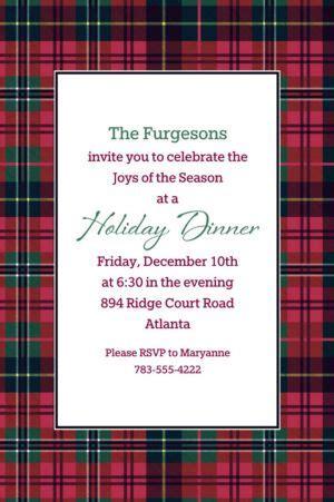 custom holiday plaid invitation custom christmas