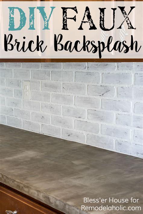 kitchen backsplash photos white cabinets remodelaholic diy whitewashed faux brick backsplash