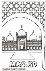 Coloring Pillars Islam Mosque Pages sketch template