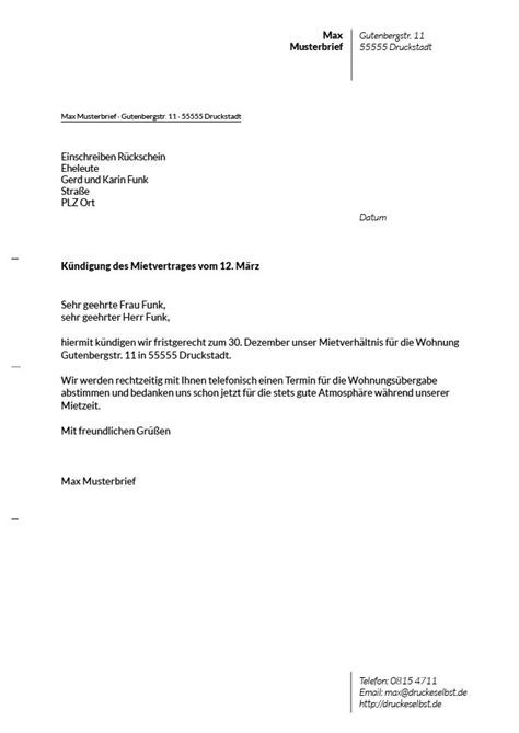 kündigung schreiben wohnung muster k 252 ndigung mietvertrag wohnung k 252 ndigung vorlage fwptc