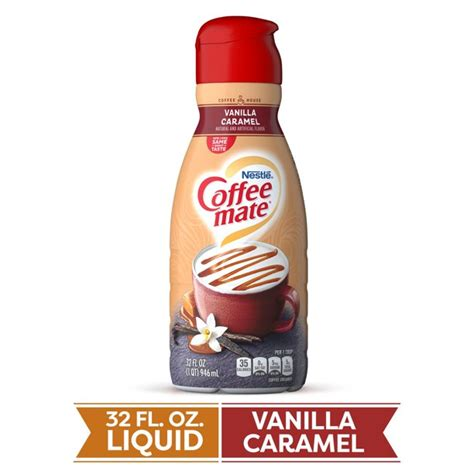 Transform the coffee you like into the coffee you love with coffee mate vanilla caramel coffee creamer. COFFEE MATE Vanilla Caramel Liquid Coffee Creamer 32 Fl. Oz. Bottle Non-dairy Lactose Free ...