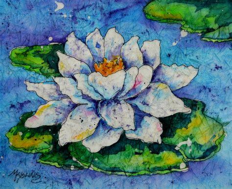 martha kisling art  heart water lily pad batik