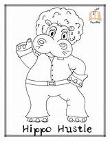 Coloring Disco Colouring Printable Template Getcolorings Hula Hippo sketch template