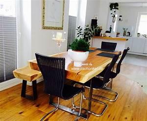 Esstisch Mit Sitzbank : esstisch mit einer sitzbank aus einem baumstamm der tischonkel ~ Frokenaadalensverden.com Haus und Dekorationen
