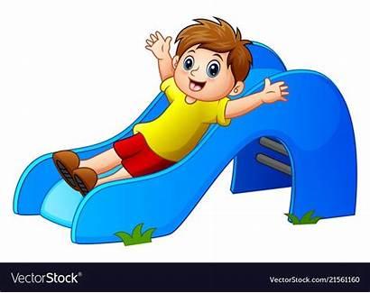 Sliding Boy Vector Park Vectorstock Illustrator Royalty
