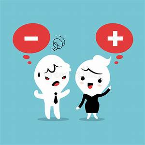 Positive And Negative Thinking Cartoon Stock Vector