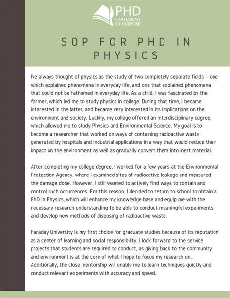 sample statement  purpose  phd admission  physics