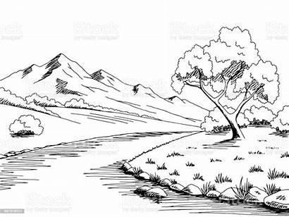 River Mountain Sketch Landscape Graphic Clipart Ilog