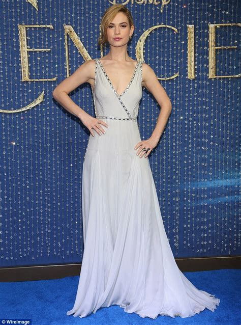 Lily James enchants in a blue grey gown at Cinderella premiere in Mexico City   Daily Mail Online