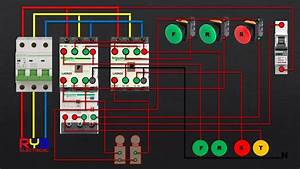 Three Phase Dol Starter Control And Power Wiring Diagram Reverse Forward With Limit Switch