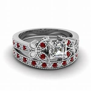 engagement ring sets fascinating diamonds With ruby wedding ring set
