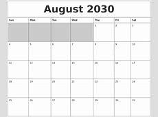 September 2030 Printable Calander