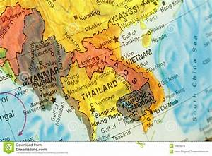 Map Of Thailand,Vietnam And Laos. Close-up Image Stock ...