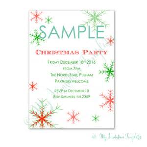 snowflake christmas invitation templates free sample