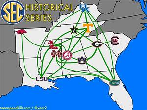SEC Historical Football Series Mapped Out - Team Speed Kills
