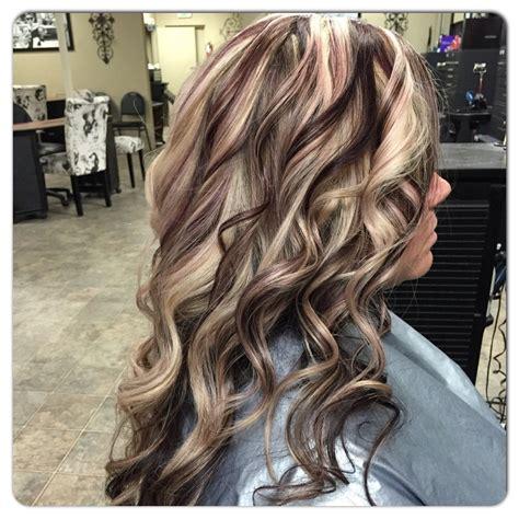 blonde  violet red   highlight  janee hair