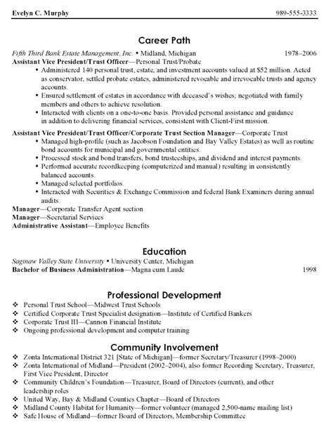 Best Resume For Administrative Officer by Exle Resume Exle Cv Of Community Development Officer