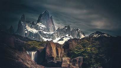 4k Snow Mountains Covered Wallpapers Waterfall Line