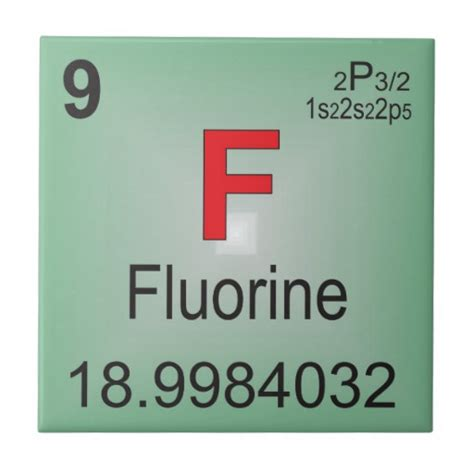 fluorine individual element of the periodic table tile