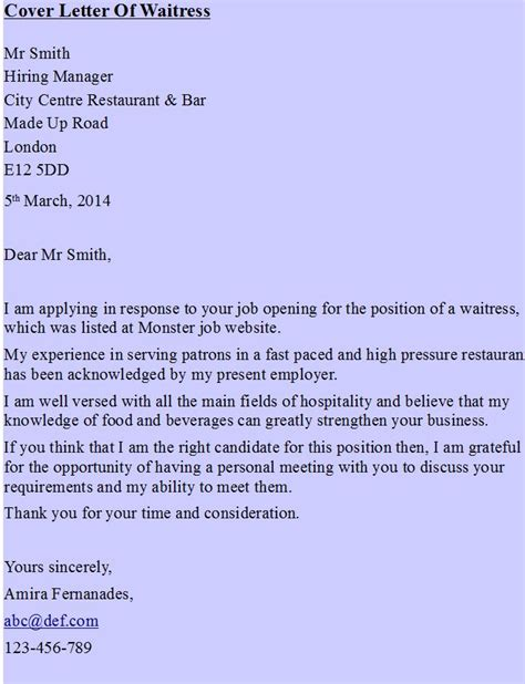Cover Letter Exles Waitress by Cover Letter Of Waitress Hipcv Resume Tips Articles