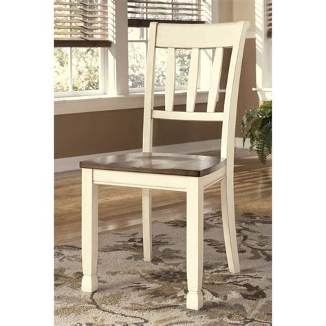 whitesburg dining chair in brown and cottage white