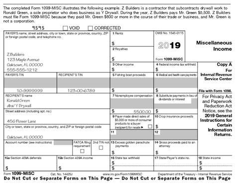for form 1099 misc 2019 revenue