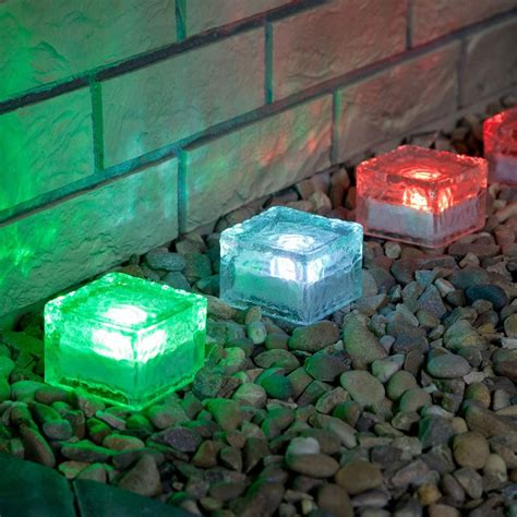 4 colour changing solar garden glass brick lights