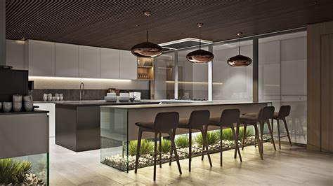 Office Kitchen Design Rendering In Chocolate Hues Archicgi