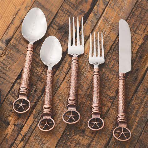 western flatware star rustic copper kitchen lonestarwesterndecor pcs