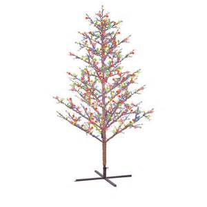 ge 8 ft winterberry pre lit brown branch artificial christmas tree with multicolor led lights