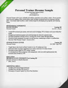 fitness trainer resume personal trainer resume sle and writing guide rg
