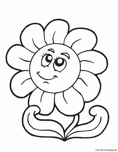 Coloring Spring Happy Flower Pages Face Printable