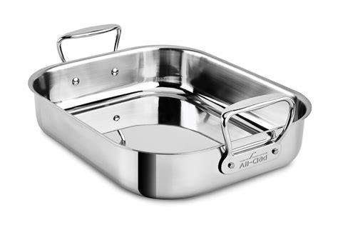 clad stainless roasting pan  rack     cutlery