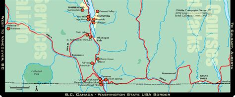 Large highway map of Okanagan region of BC | city-towns ...