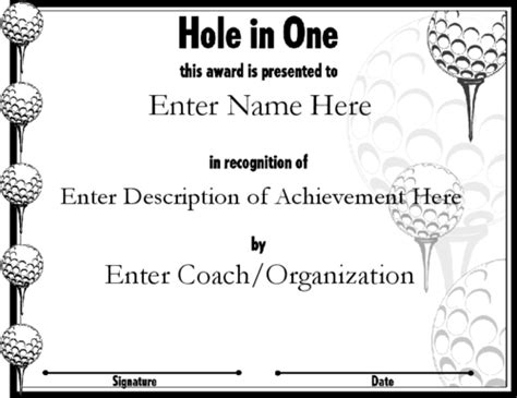 Free Hole In One Certificate Template Costumepartyrun
