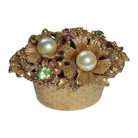 florenza set florenza bejeweled gold tone metal trinket box from