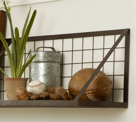 pottery barn decorative wall shelves kellan wall mount shelf industrial display and wall