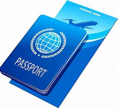 Passport Clip Tickets Clipart Visa Plane Travel