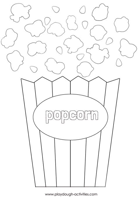 Popcorn box colouring picture - craft outline template