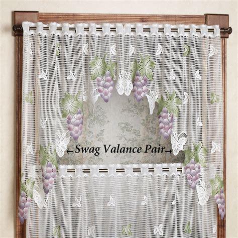 Grape Kitchen Curtains Valances by Vineyard Grape Lace Tier Window Treatment
