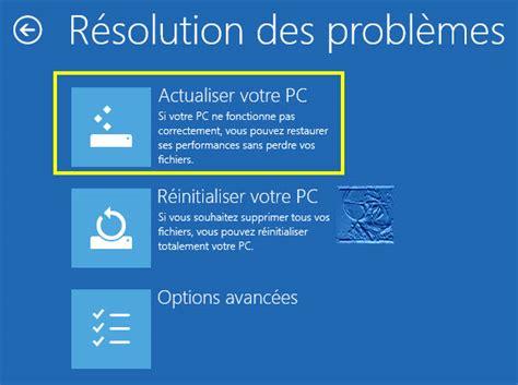 windows 8 bureau réparer windows 8 actualiser le système sans perte de