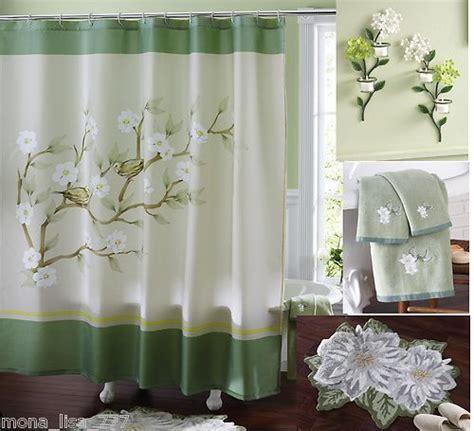 multi bath set green floral magnolia shower curtain