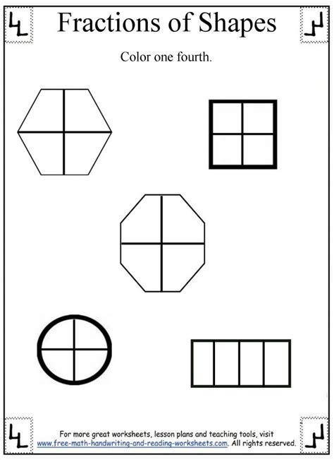 fractions worksheetdividing shapes