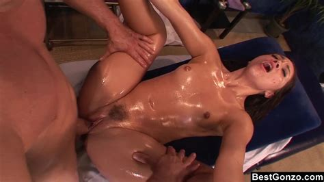 Best Gonzo Oiled Teen Brunette Has Rough Sex During