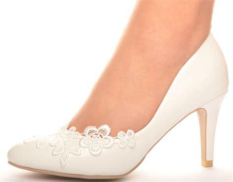 white lace crochet mid heel wedding pumps bridal