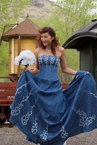 Forever in blue jeans denim western wedding corset wedding for Western denim wedding dresses