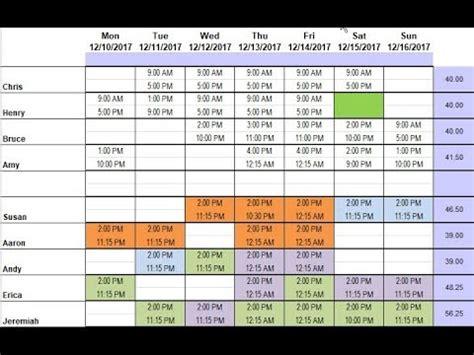 demo  restaurant schedule template  excel youtube