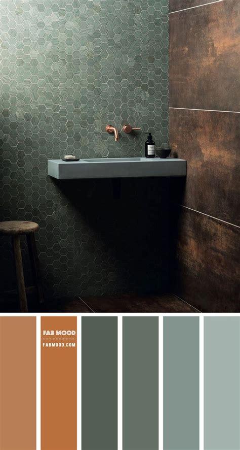 copper  green color palette  bathroom